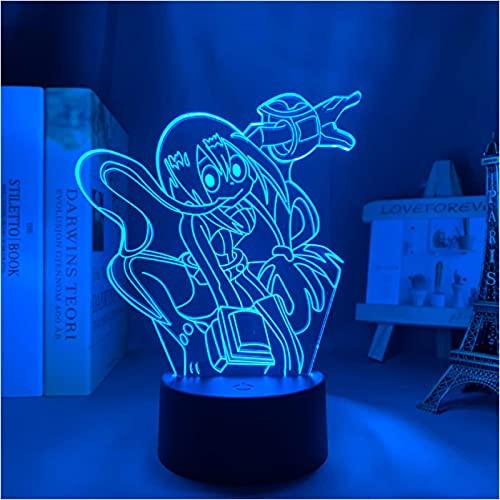 Lámpara De Ilusión Óptica Acrílica 3D Anime My Hero Academia Tsuyu Asui 7 Colores Luz Nocturna Para Decoración De La Lámpara De Escritorio Del Dormitorio Del Hogar
