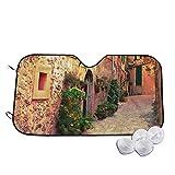 Parasol para parabrisas de coche con estampado de calle en el pueblo de Mallorca, España, estilo vintage, para puerta y carretera, 130 x 70 cm