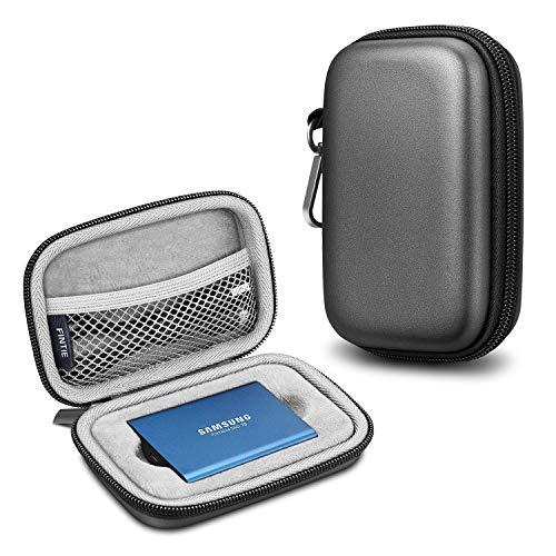 Fintie Tragetasche Hülle kompatibel mit Samsung T5 T3, Kunstleder Harte Eva stoßfeste Tasche Organisator für Samsung T5 / T3 / T1 Tragbar 250GB 500GB 1TB 2TB SSD Externe Solid State Drives, Grau