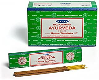 Satya Nag Champa Ayurveda お香スティック Agarbatti 180グラムボックス   15グラム入り12パック
