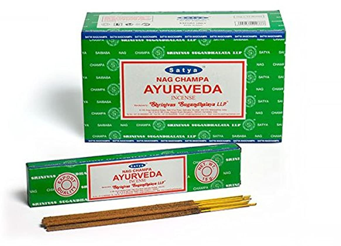 自分のためにグリット確執Satya Nag Champa Ayurveda お香スティック Agarbatti 180グラムボックス | 15グラム入り12パック