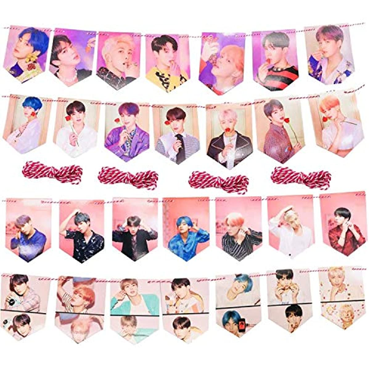 28 PCS Kpop Bingtan Boys Hanging Banner, 4 x 2 Meter BTS Flag Garland for Home Decor Party Decoration and A.R.M.Y