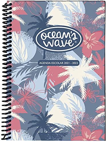Agenda Escolar 2021-2022 Summer - Tapa de cartón Forrado y Extra Dura con Espiral de Plástico - Día por Página - Papel A6 de 80 gr - Dietario de Septiembre a Junio - Ocean's Wave