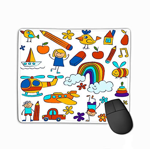 Non-Slip Thick Rubber Large Mousepad 11.81 X 9.84 Inch Kindergarten Doodle Pictures White Background Hand Drawn Images Creative