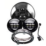 Black 7 inch LED Headlight with 4.5 inch Matching Black Passing Fog Lamps for Harley Motorcycles with Mounting Bracket and Wire adapter