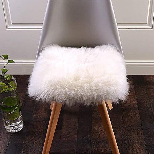 DQMEN Spitzenqualität Lammfellimitat Teppich, Kunstfell Dekofell Lammfellimitat Teppich Longhair Fell Nachahmung Wolle Bettvorleger Sofa Matte (Quadratisch, Weiß, 45 X 45 cm)