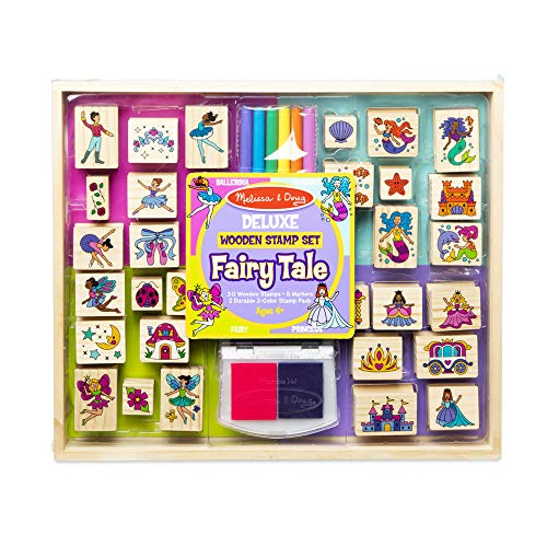 Melissa & Doug Deluxe Wooden Stamp and Coloring Set – Fairy Tale (30 Stamps, 6 Markers, 2 Durable 2-Color Stamp Pads)