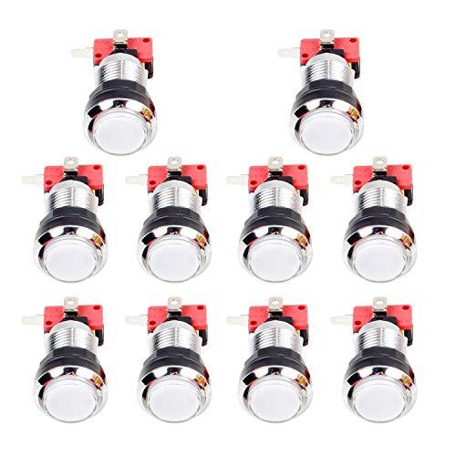 EG STARTS Arcade Chrome LED Illuminato Pulsanti con 4,8mm microinterruttore per Button Arcade Games Machine Mame Jamma Parti 12V (Bianco)