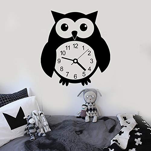 JXFM wandklok, motief: grappige uil, vogels, muurtattoo, vinyl, voor kinderen, grote decoratie, Adesivo de Parede Art, fotopapier SA222, 73 x 84 cm