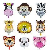 Vordas 9 Pieces Animal Feuille D'aluminium Ballons, Ballon Aluminium Helium - Helium est Autorisé, Parfait pour la Décoration de Fête d'anniversaire d'enfants (Taille: 30-50cm)