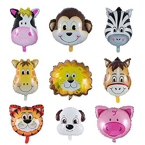 Vordas 9 Stück Folienballon Tiere, Luftballons Tiere Kindergeburtstag - Helium ist Erlaubt, Perfekt für Kinder Geburtstag Party Dekoration (Größe: 30-50cm)