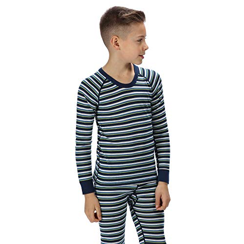 Regatta Kinder 'Beeley' Base Layer Set Funktionsunterwäsche, Prussian Stripe, 7-8