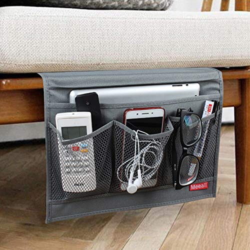 Meeall Bedside Storage Organizer, Bedside Organizer Caddy for Remotes Phone Magazine, Grey