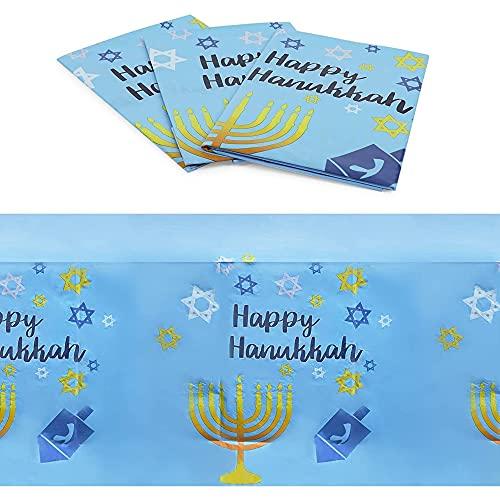 Hanukkah Themed Tablecloths, Menorahs, Dreidels, Star of David (54 x 108 in, 3 Pack)