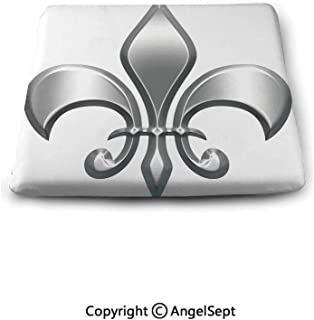 oobon Square Seat Cushion for Bar Stool,Fleur De Lis Decor,Lily Flower Symbol Nobility of Knights in Medieval Time European Iris Icon Design,White Silver,Chair Pad Premium Comfort,Waterproof