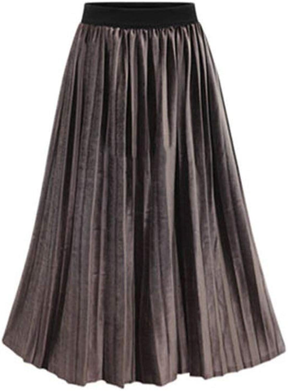 Alerghrg Plus Size 5XL European Style Skirts Elastic Pleated Skirt Loose Velvet 6625