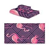 TropicalLife iRoad Juego de toallas de algodón 3 piezas Japón Flamingo Plaid altamente absorbentes Toallas faciales Juego de toallas de baño para cocina