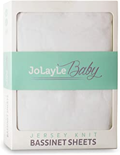 JoLayLe Baby Bassinet Sheets 2 Pack - 100% Cotton Jersey Knit Fitted Oval Bassinet Sheet Set - Extra Soft Baby Bedding for Boys and Girls- Pure White Gender Neutral Sheet