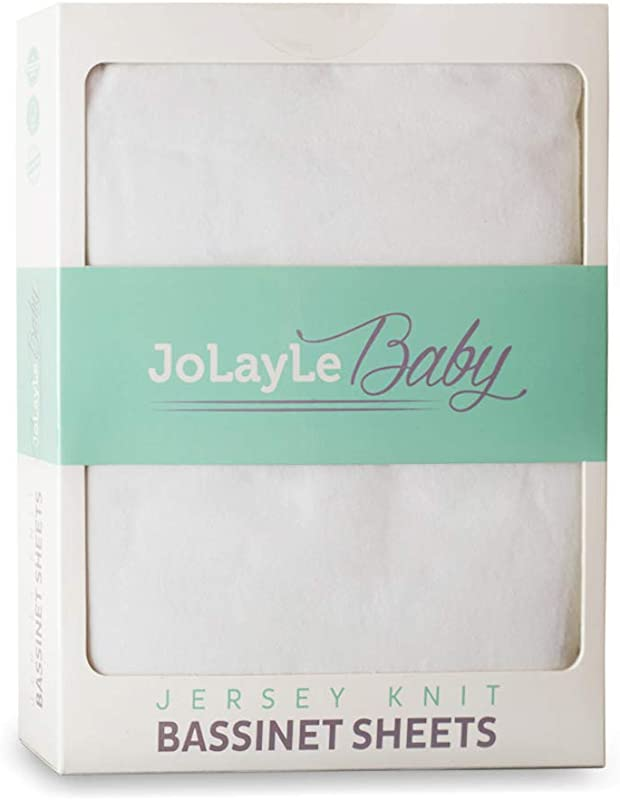 Bassinet Sheets 2 Pack 100 Cotton Jersey Knit Fitted Oval Bassinet Sheet Set Extra Soft Baby Bedding For Boys And Girls Pure White Gender Neutral Sheet By JoLayLe Baby