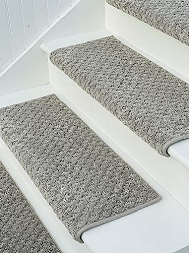 Oak Valley Designs Carpet Stair Treads - Style: Bayside Charm, Light Grey, 27' Wide, (Set of 14)