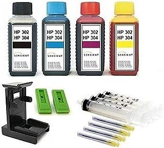 Inktpatronen navulset - 4 x 100 ml SENSIENT navulinkt voor HP 302 + HP 304 (XL) zwart en kleur, elk 100 ml zwart, cyaan, m...