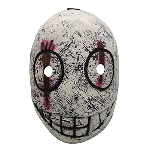 Natinr Dead by Daylight Gruselige Lächeln Legion Frank Morrison Cosplay Latex Maske Halloween Schrecken Verrückte Musik Festival Cosplay Maskenball Spiel Kopfbedeckungen Requisiten, Weiß