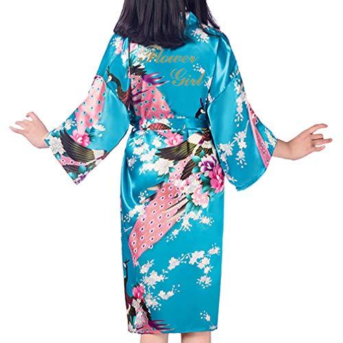 Kunfang Kids Robe Satin Kimono Batas de Baño Vestido de Ni
