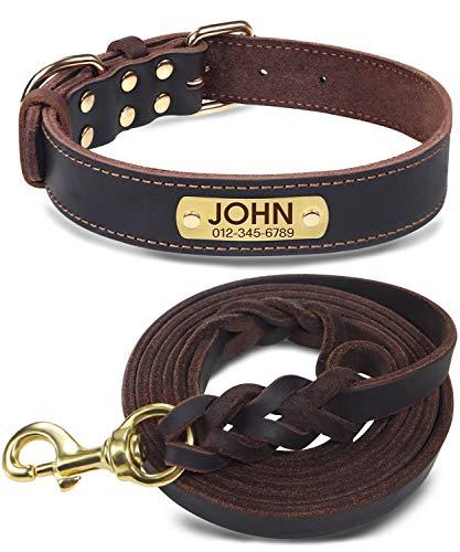Joytale HundehalsbandundLeineLeder,Braun Hundehalsband Leder Gravur mit Namen,Hundeleine Geflochten für Mittel Große Hunde,L