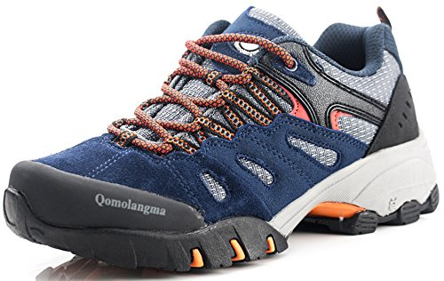 Qomolangma Women's Suede Hiking Shoes Walking Sneakers Outdoor Trail Trekking Shoes Blue/Orange