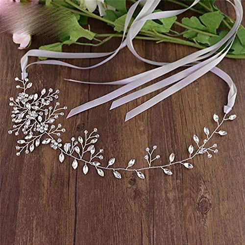 YouLaPan SH65 Cinturón de boda Cinturón de boda Cinturón de cristal Cinturones finos Accesorios de boda Cinturones de novia-Cinta gris