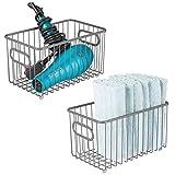 mDesign Juego de 2 cestas de almacenaje en metal con asas integradas – Caja...