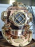 Sara International Antique Morse U.S Navy Tauchhelm, massives Kupfer und Messing, Volle Größe 18