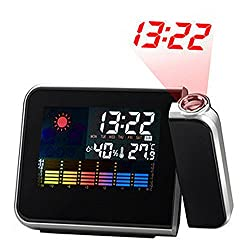 milkcha Kid Alarm Clock,LCD Projection Digital Weather Snooze Alarm Clock LED Backlight Color Display Stay in Bed Alarm Clock for Kids
