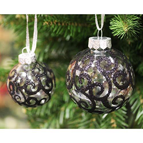 Black Swirl Sleetly Luxury Christmas Tree Ball Ornaments Set of 16