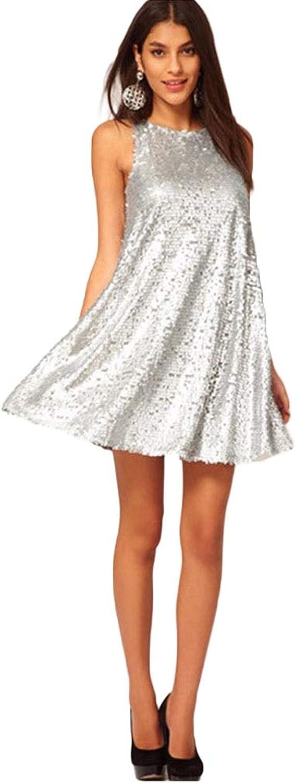 FUZHUANGHM Women Silver Sequin Dress O Neck Sexy Sleeveless Ladies Party Club Mini Swing Dress Silver