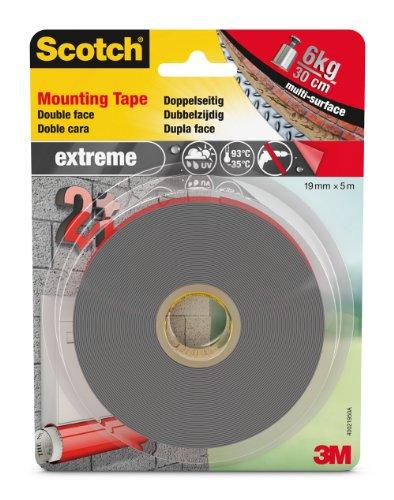 Scotch doppelseitiges Montageklebeband in Grau 40021950 – Extrem starker Halt – Für die Benutzung draußen geeignet – 19 mm x 5 m
