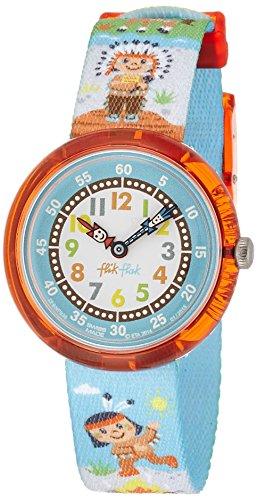 Flik Flak FBNP036 BODAWAY Uhr Junge Kinderuhr Indianer Stoffband Kunststoff 30m Analog blau