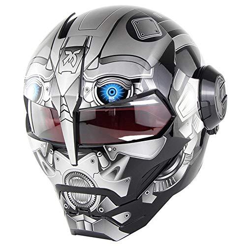 DAWANG Motorradhelm Iron Man Integralhelm Transformers Motorradhelm Integralhelm Ghost ECE-Zertifizierung Four Seasons Helmet Road Race,L