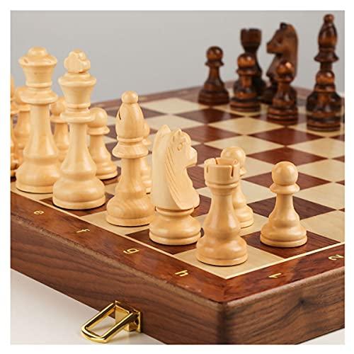 ZWDM Ajedrez De Madera 2 En 1, Plegable 45x45cm Set De Juego De Mesa De Ajedrez Estándar Universal para Niños Y Adultos (Color : Yellow Brown, Size : 45x45x3.8cm)