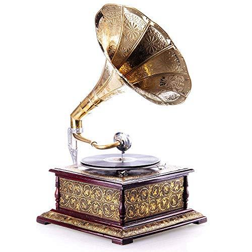 Grammophon Trichter Gold Trichtergrammophon Vintage Schallplattenspieler Antik lup011 Palazzo Exklusiv
