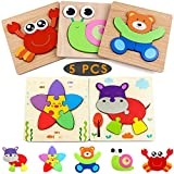 XPCARE 5 Pack Animals Wooden Toddler Puzzles Gifts Toys for 1 2 3 Toddlers Early Educational Puzzles