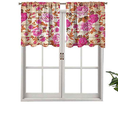 Hiiiman Cenefa recta, panel de cortina de alta calidad, bolsillo para barra vintage, color cálido, rosas sobre madera, juego de 1, 137 x 45 cm, ideal para cualquier habitación y dormitorio