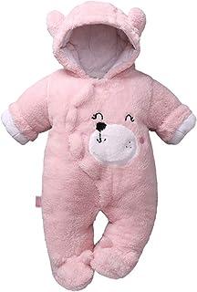 JIAMY Baby mit Kapuze Strampler Winter Overall Flanell Outfits Jungen Mädchen Pyjama SäUgling Spielanzug Footies Outwear Rosa 3-6 Monate