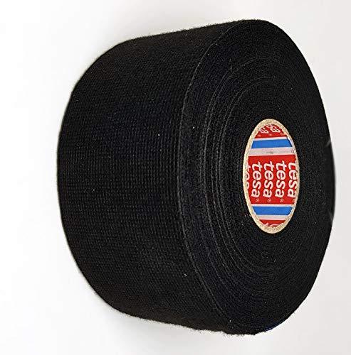 TESA 51608-00025-00 Gewebeband PET-Vlies 51608 Isolierband für Kabelbäume Baumwolle Klebeband (50mm x 25m), schwarz