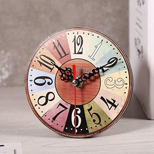 Zyyini Reloj de Pared de Madera, Reloj de Pared Redondo de Madera silencioso Estilo rústico Vintage de 5 Pulgadas, con Pilas, decoración de Pared rústica para la Sala de Estar, Cocina, Dormito