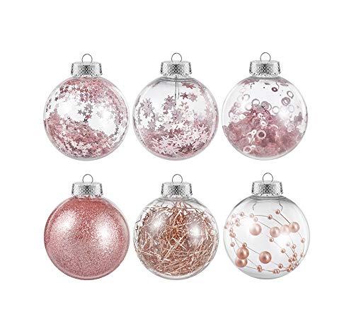 NUOBESTY - Bolas de Navidad rellenas (36 unidades, 6 cm, oro rosa)