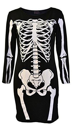 NOROZE Damen Frauen Halloween Skelett Schädel Knochen Rot Blut Herz Bodycon Kostüm Neuheit Party Kleid (40/42, Schwarz Skelett)
