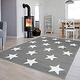 Tapiso Colección Luxury Alfombra Salón Moderno Piso Color Gris Blanco Diseño Estrellas Fácil Mantenimiento 80 x 150 cm
