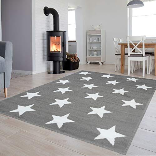 TAPISO Luxury - Alfombra Moderna para salón, Dormitorio, salón, Dormitorio, habitación Infantil, Color Gris Claro, Estrellas de Pelo Corto, 80 x 150 cm