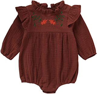 Weixinbuy Toddler Baby Girls Romper Long Sleeve Ruffled Collar Embroidered Flower Overall Bodysuit Clothes